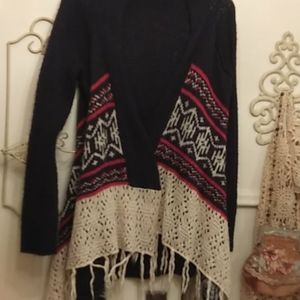 Rue 21 High low fringed cardigan
